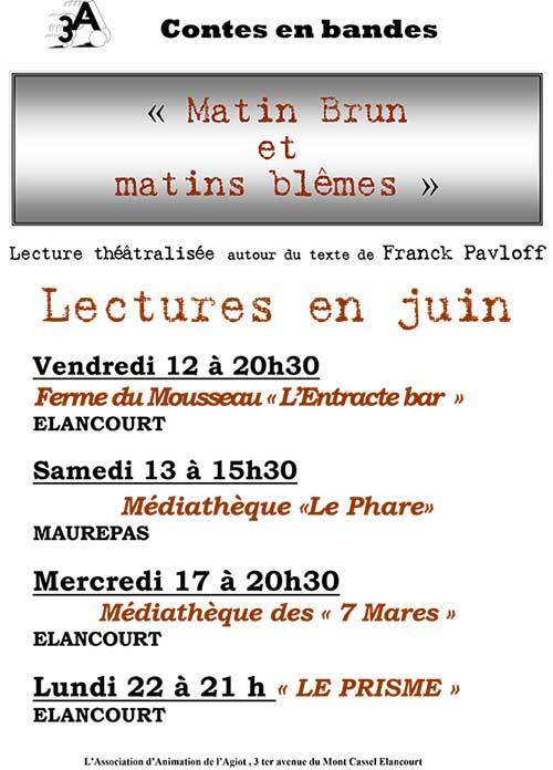 Lecture théâtralisée Matin brun et matins blêmes à Elancourt