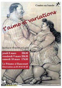 Affiche de T'aime et variations, un spectacle de lecture-théâtre de Contes en Bande