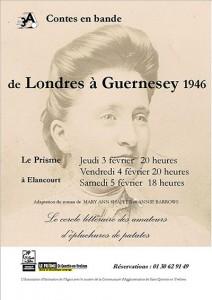 Affiche du spectacle de lecture de Contes en Bande, De Londres à Guernesey 1946