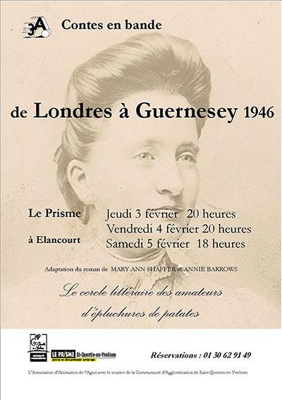 Affiche du spectacle de lecture, De Londres à Guernesey 1946, par Contes en Bande