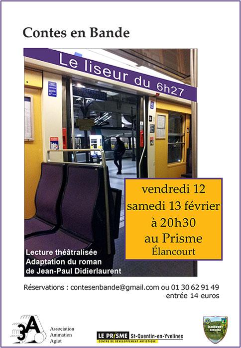 """Affiche Spectacle de lecture théâtralisée """"Le liseur du 6h27"""" par Contes en Bande"""