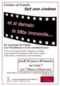 Affiche: Lecture théâtrale sur l'intolérance et le totalitarisme