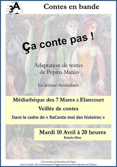 Affiche du spectacle de lecture Ça conte pas ! - Contes en Bande - Elancourt