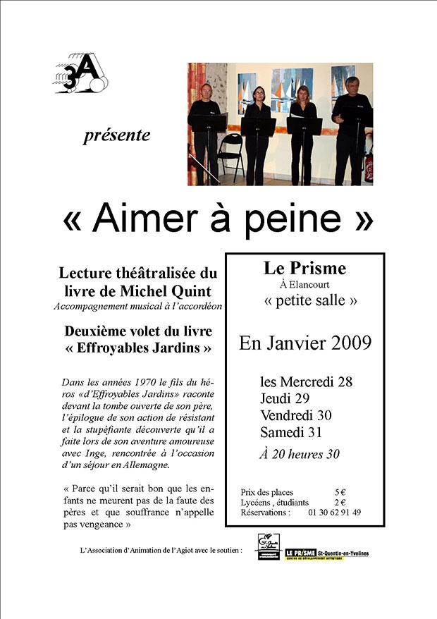 Affiche Spectacle de lecture Aimer à peine, adaptation du roman de Michel Quint