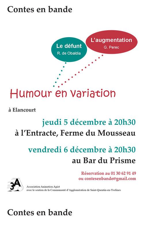 Affiche - Humour en variation - Lecture théâtralisée de Contes en Bande - Élancourt