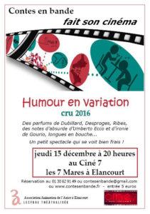 Humour en variation cru 2016 - Spectacle de lecture - Dubillard, Desproges, Ribes...