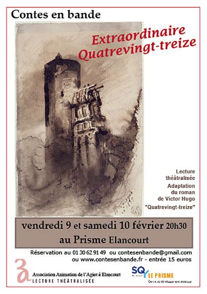 Affiche - lecture théâtralisée de Contes en Bande - Extraordinaire Quatrevingt-treize