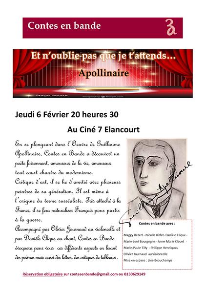 Affiche: Lecture théâtralisée sur Guillaume Apollinaire